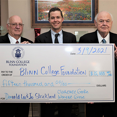 Endowed scholarship established at Blinn College in honor of Donald and Jo Strickland